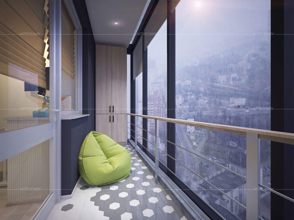 Дизайн квартиры в жк парус. модный балкон для детской. - арх.
